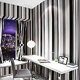 Papel pintado no tejido no autoadhesivo papel pintado a rayas en blanco y negro flocado papel tapiz de la sala de estar-rayas blancas y negras