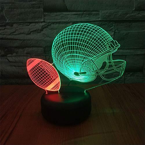 American Football Helm 3D Nachtlicht Kinder Lampe 7 Farbe Led Nachtlicht Touch Led Usb Tischlampe Für Kinder Weihnachten Geburtstagsgeschenk