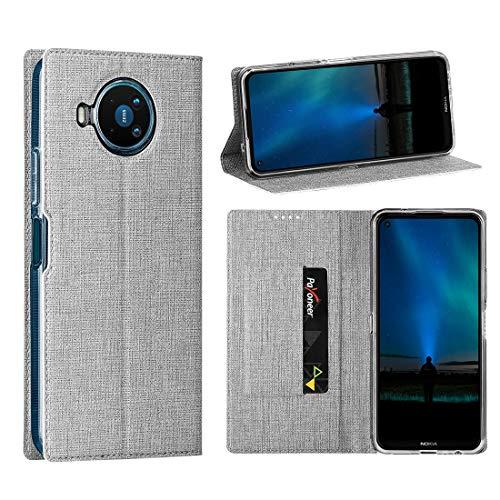 Cresee Nokia 8.3 5G Hülle, PU Leder Handyhülle mit Kartenfach, Schutzhülle Hülle Tasche Flip Cover Standfunktion Stoßfest Brieftasche für Nokia 8.3 (Grau)
