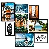 GREAT ART® Stimmungs-Poster Set Surfer | 8 Stilvolle
