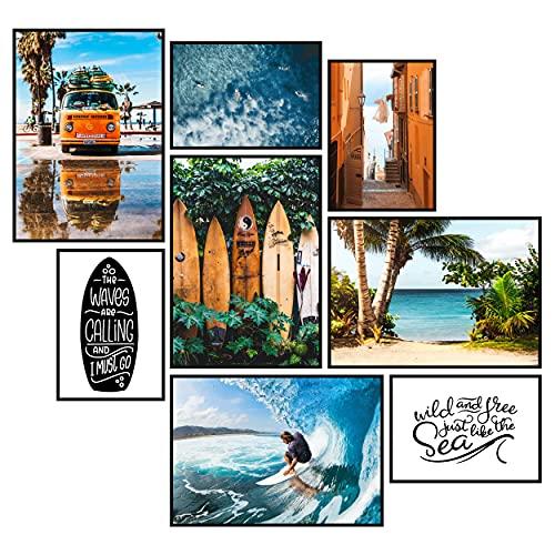 GREAT ART® Stimmungs-Poster Set Surfer | 8 Stilvolle Moderne Wandbilder Collage Deko | 4X Din A2 und 4X Din A3 | Strand Palmen Welle Surfing Sport Ozean Abenteuer Urlaub | ohne Rahmen