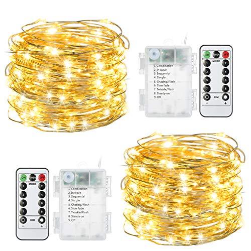 100 LEDs Lichterkette Batterie, Tomshine 2x10M Warmweiß Kupferdraht Lichterkette Außen Wasserdicht 8 Modi Stimmungsvolle Beleuchtung mit...