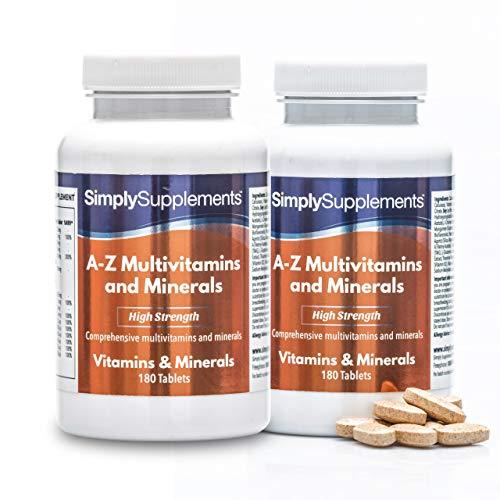 A - Z Multivitamine & Mineralstoffe - mit hoher Dosis Vitamin C - Geeignet für Vegetarier - 360 Tabletten - SimplySupplements