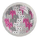 Pomos para armario de cocina con diseño de gatos de color rosa, gris y blanco, de 1,18 pulgadas, tiradores para cajones con tornillos para cocina, aparador, armario, baño, armario