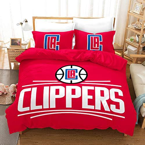 SK-PBB Juego de funda de edredón con diseño de logo de la NBA en 3D, con cremallera, 100% poliéster, funda de edredón de regalo, Clipper 200 x 200 cm
