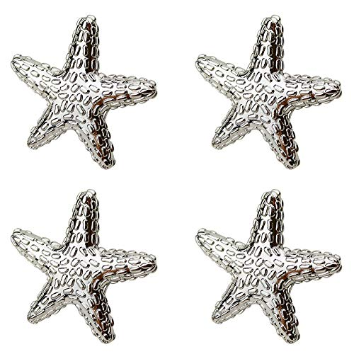 Geentie 4 pcs Starfish Drawer Knobs Ocean Theme Zinc Alloy Single Hole Pull Handle Furniture Decorate for Cabinets Wardrobes Dressers (Silver tin)