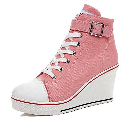 Wealsex Mujer Cuñas Zapatos De Lona High-Top Zapatos Casuales Encaje Hebilla Talla...