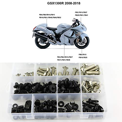 Xitomer Complete Fairing Bolts, Fit for GSX1300R HAYABUSA 2008 2009 2010 2011 2012 2013 2014 2015 2016 2017 2018 2019, Full Set Bodywork Screws/Fastenings/Mounting Kits (Silver)