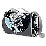 NewLL Astronauta que juega la guitarra ectric en el espacio, manta de picnic impermeable al aire libre manta plegable picnic práctico estera para playa camping senderismo