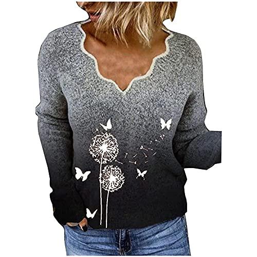 Wave166 Jersey de punto para mujer con degradado de color, estilo vintage, diente de león, estampado gráfico, cuello en V, diseño elegante, gris, M