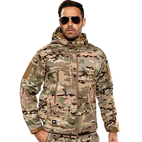 ANTARCTICA Men's Outdoor Waterproof Soft Shell Hooded Military Tactical Jacket (CP Camo, Small)