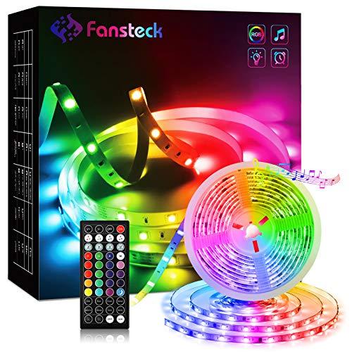 RGB LED Strip 5m, Fansteck SMD 5050 LED Streifen mit Timer, Sync mit Musik, Dimmbare Lichterkette mit Fernbedienung, LED Lichtband Selbstklebende Lichtleiste 12V für Innenbereich, Haus, Party, Küche
