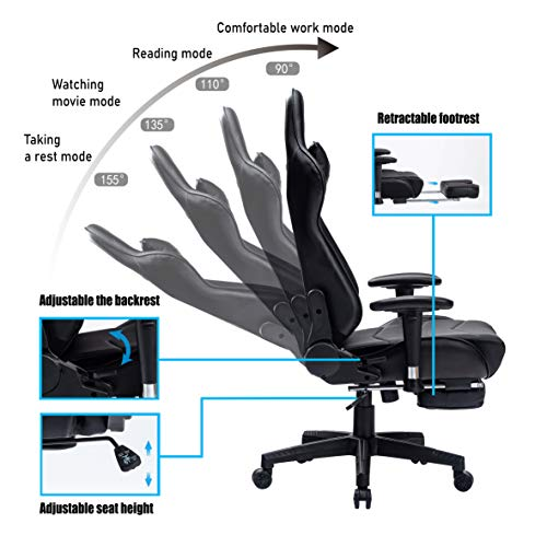 KCREAM Gaming Chair High Back PU Leather PC Racing Computer Desk Office Swivel Recliner with Retractable Footrest and Adjustable Lumbar Support (Black)
