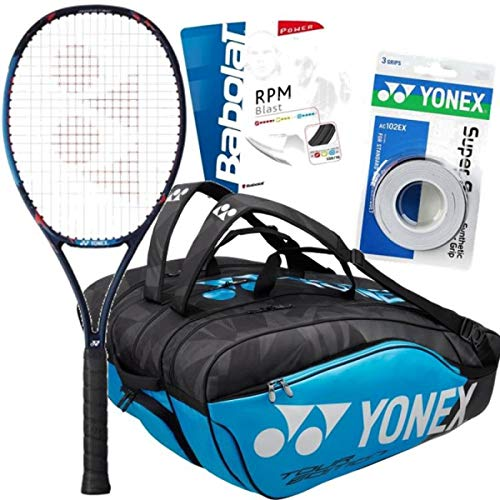 "Stan Wawrinka (Pro Player) Yonex VCORE Pro 97 (310g) Tennis Racquet (4 3/8"" Grip) Setup and Bag Bundle Set or Kit Bundled with a Yonex Pro 12-Pack Racket Bag, Strings, and Overgrips"