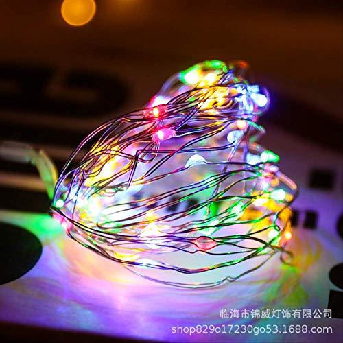 CFLFDC lichtsnoer, LED, koper en zilverkleurige draad, kerstlamp, decoratieve lamp, touw, koord (knoopcelbatterij), 10 m, 100 licht (kleur)