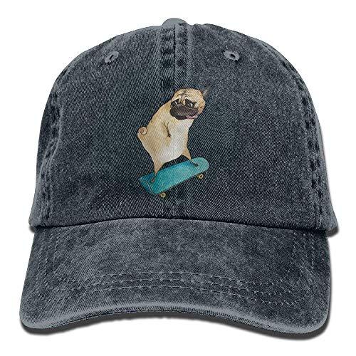 deyhfef Mens Women's Hiphop Cap,Skateboard Dog Denim Fabric Hat Men Girl Unisex Multicolor56
