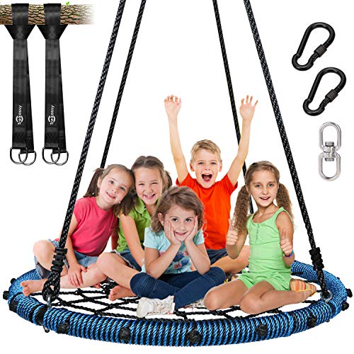 Trekassy 750lbs Spider Web Tree Swing 45 inch for Kids Adults with Swivel, 2pcs 10ft Tree Hanging Straps, Steel Frame and Adjustable Ropes