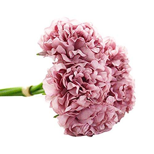 Ukallaite réaliste magnifiques Fleurs Artificielles Pivoine 5 têtes pivoines artificielles Faux Bouquet de mariage de mariage Hortensia Décoration – Vert pomme violet