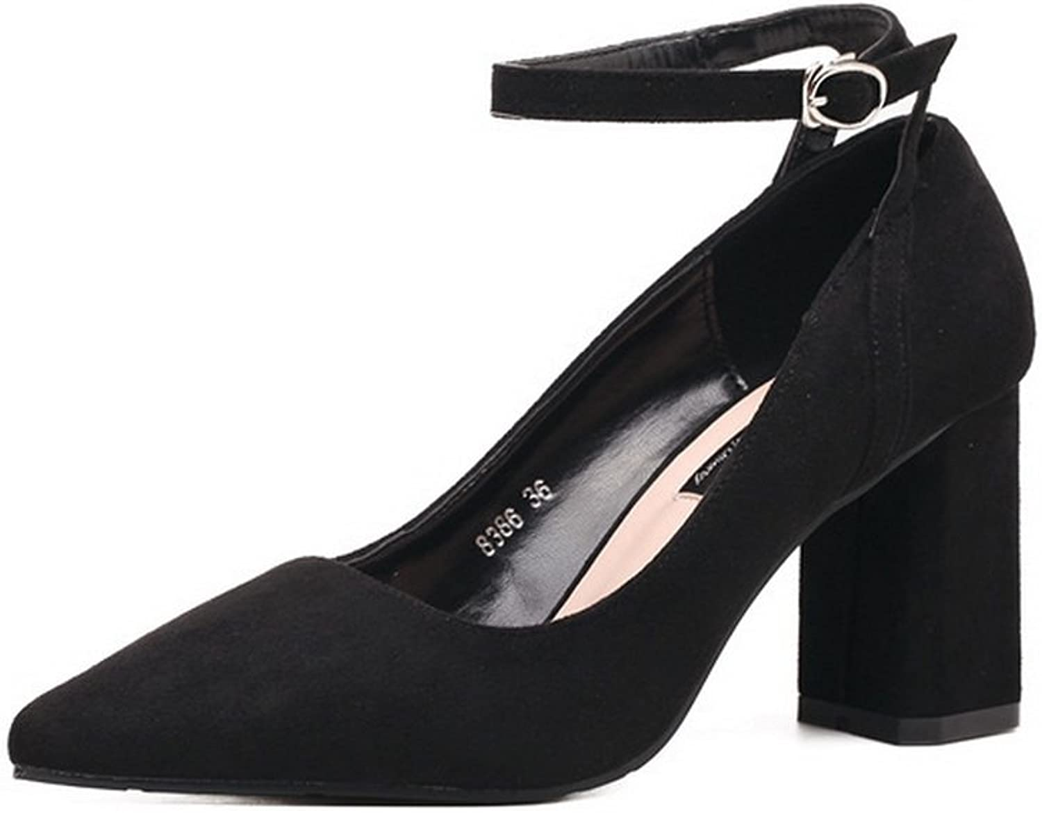 1TO9 Womens Chunky Heels Buckle Pointed-Toe Black Suede Pumps shoes - 6.5 B(M) US