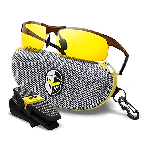 BLUPOND Night Driving Glasses - Semi Polarized Yellow Tint HD Lens Clear Vision Anti Glare Lens - Unbreakable Metal Frame with Car Clip Holder - Knight Visor
