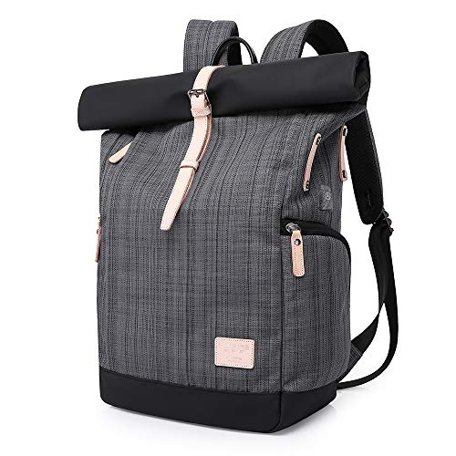 VORRINC Laptop Rucksack Damen,Roll Rucksack Herren mit USB fur 15.6 Zoll Notebook, Diebstahlsicherung Daypack Schulrucksack Mode Tagesrucksack Frauen (Gitter Grau)