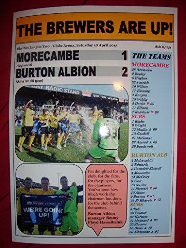 Morecambe 1 Burton Albion 2 - Burton promoted - 2015 - souvenir print