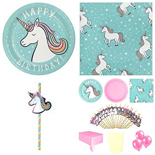 Unicorn Party Supplies Decorations Birthday Party Bundle - Serving for 20 Paper Plates,