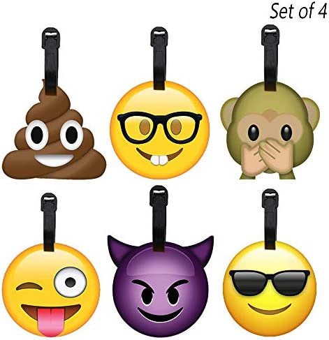 4 Pack Emoji Luggage Tags Travel Bag Name Address ID Label Suitcase Baggage Gift product image