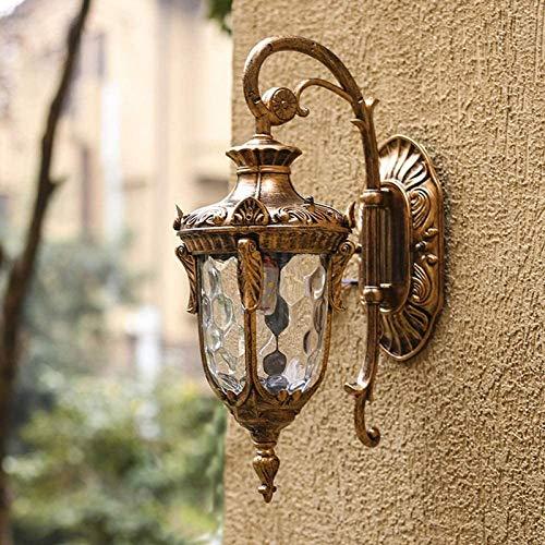 KANGSHENG Lámpara de Pared para Exteriores Antigua Vintage con Pantalla Transparente - Aplique de Pared de Estilo Victoriano para jardín, balcón, porche1xE27 MAX 60W 110-240V IP44 [Energy Cla A ++]