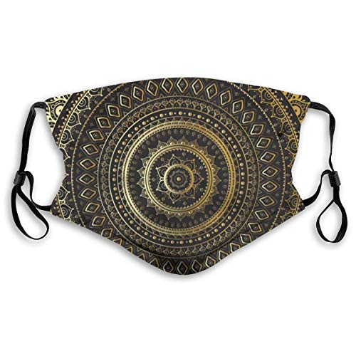 Mundschutz im Freien Staubschutz für Erwachsene - Gold Black Mandala Ethnic Oriental (2)