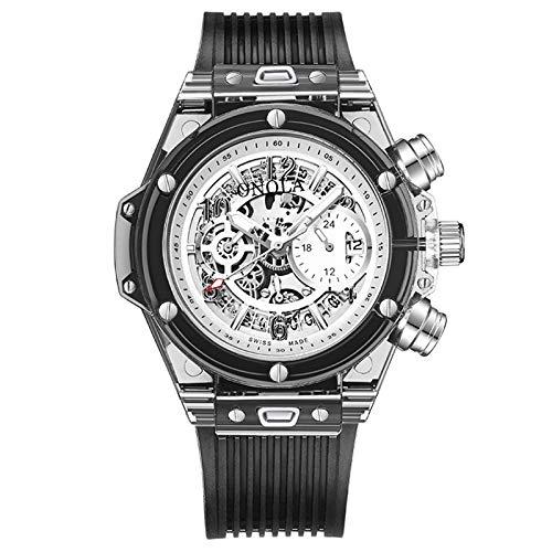 LALB Reloj De Hombre Plástico De Moda Transparente Deportes De Hombre Multifuncional, Movimiento De Cuarzo PE90 Masculino,C