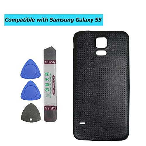 Upplus - Tapa de batería Compatible con Samsung Galaxy S5 G900 G900A G900P G900T G900V G900R4 G900F, Color Negro