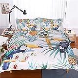 CCBAO 3D Animal Print Hogar Textil Ropa De Cama Apartamento Lavable Textiles para El Hogar Funda Nórdica Lavable Funda De Almohada Conjunto De 3 Piezas 135x200cm(WxH) C