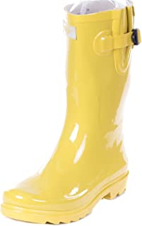 green rubber rain boots