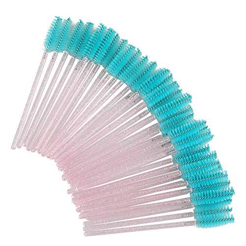300 Stück Blauer See und Rosa Kristall Wimpernbürstchen, Wimpern Kämme & Brauen Bürstchen, Mascara Augen Make Up Tools