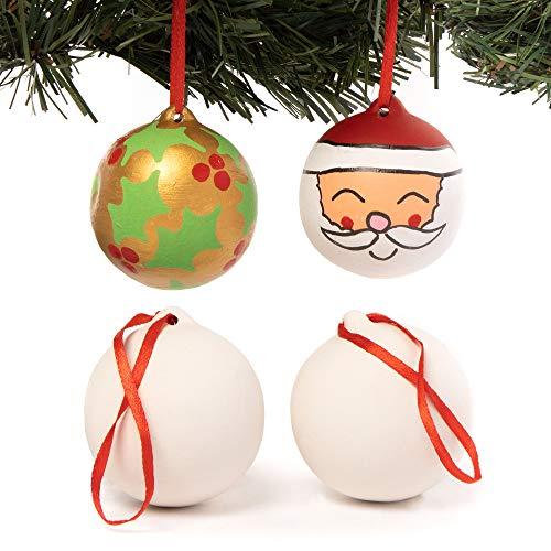 Baker Ross EX5152 Make Your Own Bauble, Ceramic Christmas Arts and Crafts for Kids to Decorate and Personalise (Pack of 4), Brown