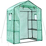 Ohuhu Greenhouse for Outdoors with Observation Windows New Version, Small Walk-in 3 Tiers 6 Shelves Stands Plant Green House for Seedling, Flowers, Plant Growing, 4.7 x 2.4 x 6.4 FT