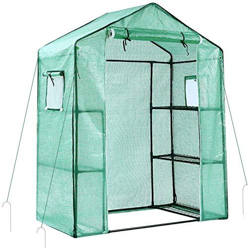 Ohuhu Foliengewächshäuser Gewächshaus kleines Gartenhäuschen Folien Treibhaus Tomatenhaus Pflanzenhaus Frühbeet,Grün 3 Ebenen 6 Regale
