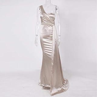 One-Shoulder Padded Satin Long Dress Women'S Party Dress Dress Dress