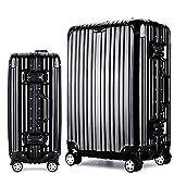 Langxj hj スーツケース キャリーバッグ100%PCポリカーボネート ダブルキャスター 二年安心保証 機内持込 アルミフレーム人気色 超軽量 TSAローク1520 (S, ブラック)