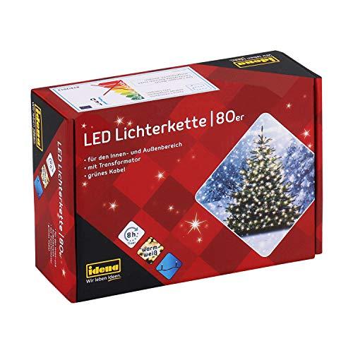 Idena 8325058 - LED Lichterkette mit 80 LED in warmweiß, mit 8 Stunden Timer Funktion und Transformator, ca. 15,9 m lang, Innen- und Außenbereich, für Partys, Weihnachten, Deko, Hochzeit