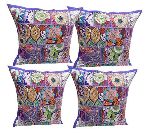 iinfinize - 4 fundas de cojín hechas a mano en la India de algodón vintage con bordado de puf de patchwork para el suelo, cojín cuadrado de 16 pulgadas, cojín para sofá o silla de meditación, puf otomana