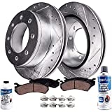 Detroit Axle - 4WD Models FRONT Drilled Slotted Rotors & Brake Pads Replacement for Ford Excursion F-250 F-350 Super Duty w/ 331mm Front Rotors - 4pc Set