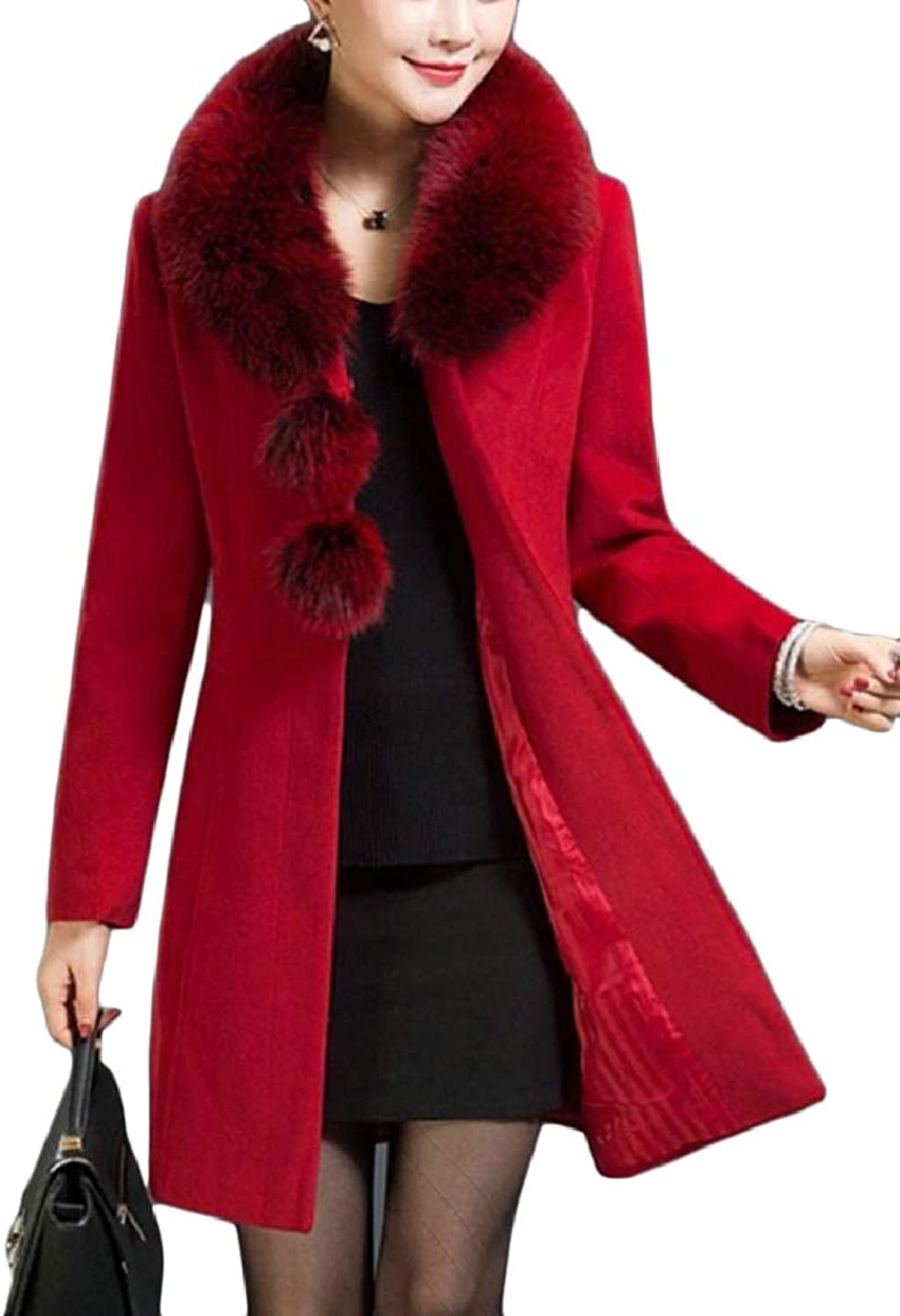 Ouxiuli Women Mid Long Pea FauxFur Collar Solid color Wool Blend Winter Trench Coat