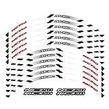 Wjyfexble Un Conjunto de calcomanías de Ruedas de Motocicleta de 12 unids Impermeable Reflectante Pegatinas rimas de llanta para Honda NC750S NC750X NC750 WYJHN (Color : White)