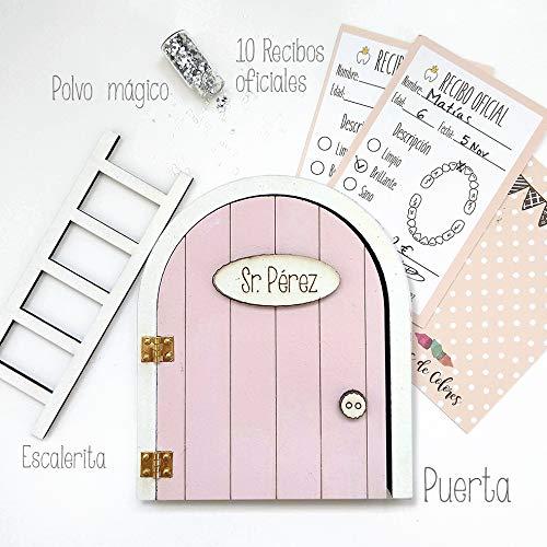 Puerta Ratoncito Pérez Rosa QUE SE ABRE con escalerita, recibos oficiales y polvo mágico