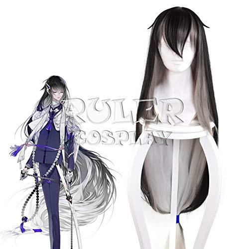 Anime Touken Ranbu Online Juuzumaru Tsunetsugu Peluca de Cosplay Negro Gris Blanco Gradiente 130Cm Pelucas de disfraz de pelo sinttico recto Kuzz9568