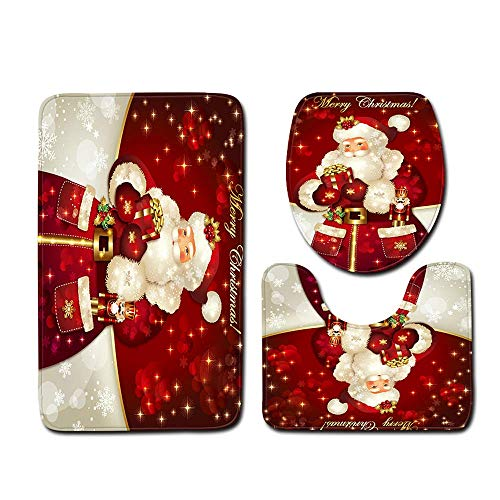 Hsarsup Christmas Bath Mats Set,3 Piece Bathroom Mats Set Anti-Slip Bathroom Rugs + Contour Mat + Toilet Cover for Christmas Decorations Soft Bathroom Rugs Set Red Santa Claus