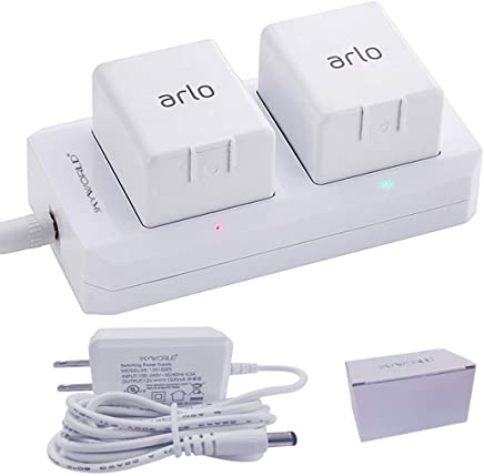 Arlo Battery Charger Station, Dual & Quick Charging Station for Arlo Pro/Pro 2/Arlo Safety Light VMA4410 / Go Camera,with 12 V Power Adapter,Fireproof ABS Material and Pass FCC&UL Certified(White)