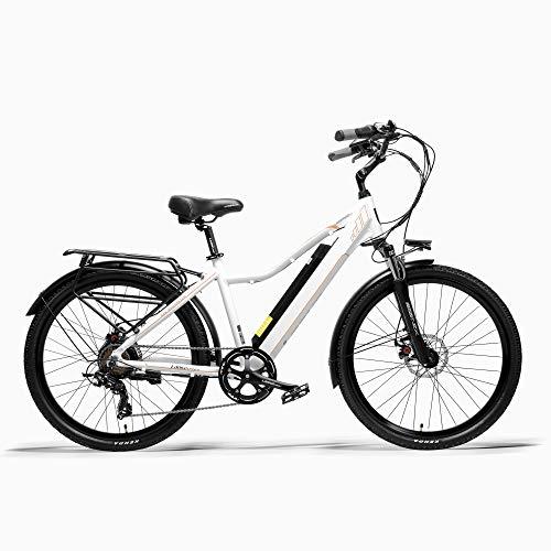 LANKELEISI Pard3.0 26' Bicicletta elettrica, Bici da Città da 300W, Forcella Ammortizzata a Molla a Olio, Bicicletta di Assistenza al Pedale, Lunga Durata (White, 10.4Ah)